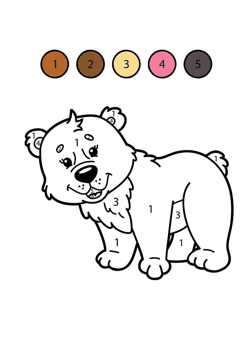Colorear oso por números