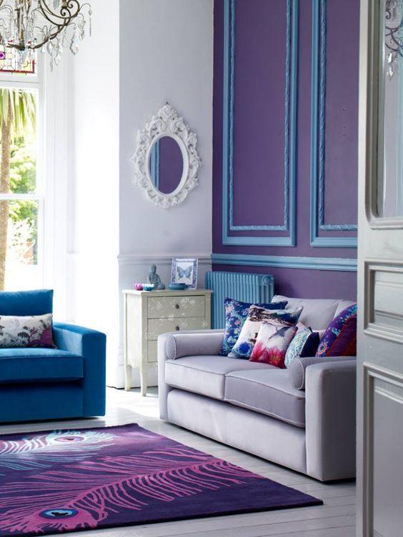 Ejemplo de uso de colores análogos en la decoración: tonos azules en un salón.
